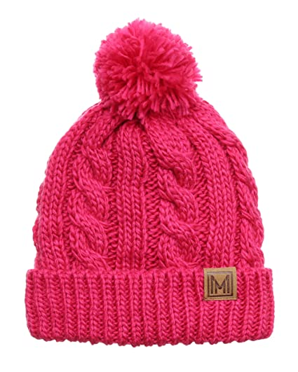 MIRMARU Winter Oversized Solid Color Cable Knitted Pom Pom Beanie Hat with  Fleece Lining.( be808dd87eca