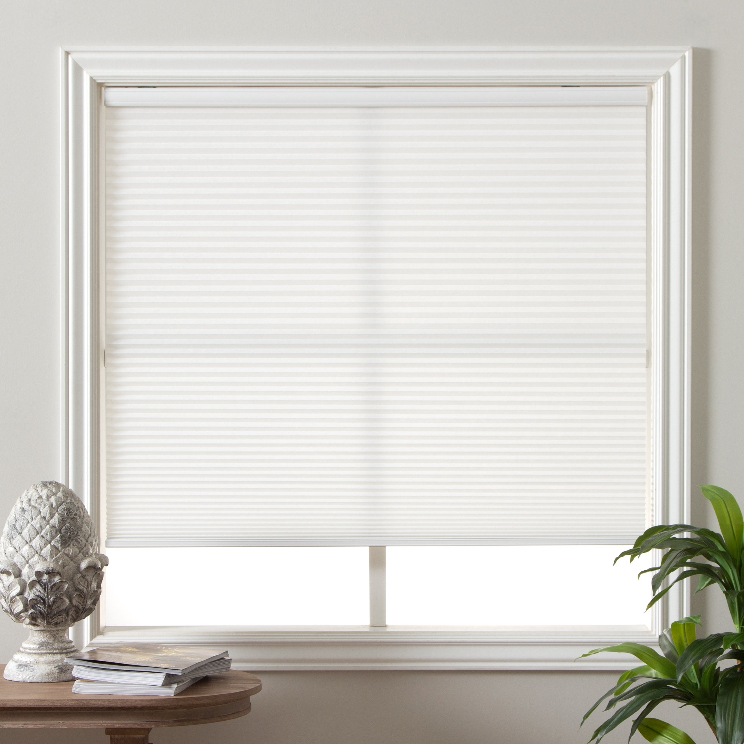 PH 1 Piece 36w x 60h Inches Pure White Blinds, Home Decor Light Filtering Cordless Cellular Shade, Includes Hardware, Horizontal Slat, Easy Match Window Treatments, Polyester Material