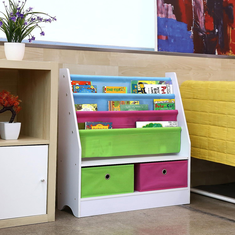 HOMFA Mensola Libreria Porta Giocattoli con Scatole per Bambini 3 Ripiani Porta Libri Organizzatore Portagiocattoli Scaffale legno con 2 Cesti in Non-Woven
