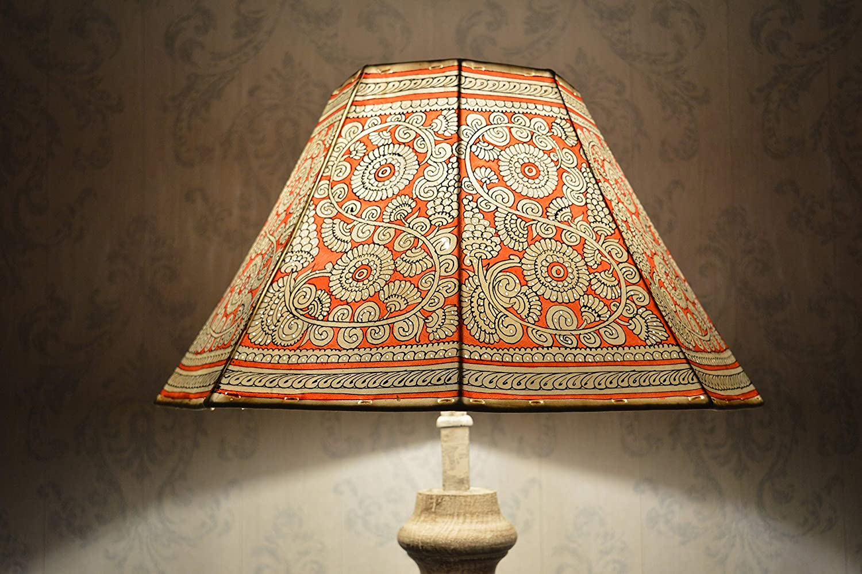 Mandala Stehleuchte Large | Leder Floral Lampenschirm Handbemalt in Bernstein Rot | Achteckiger Lampenschirm - Höhe - 9.5IN, Breite - 16IN