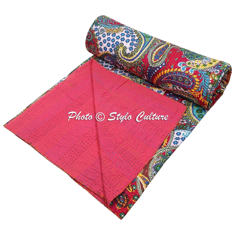 IndianベッドスプレッドクイーンサイズKantha ThrowマゼンタコットンペイズリーHand Stitched毛布寝具ベッドカバーby Stylo文化 B078RQV466