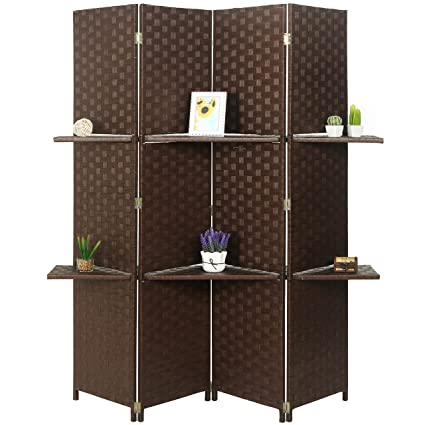 Amazoncom MyGift Woven Wood 4 Panel Room Divider with 2 Removable