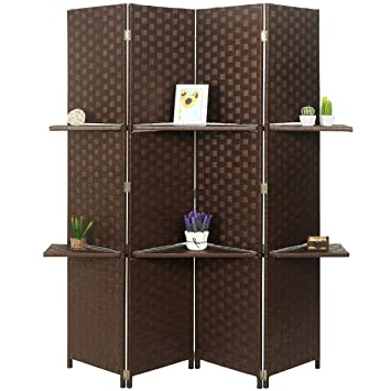 Mygift Woven Wood 4 Panel Room Divider With 2 Removable Shelves Brown
