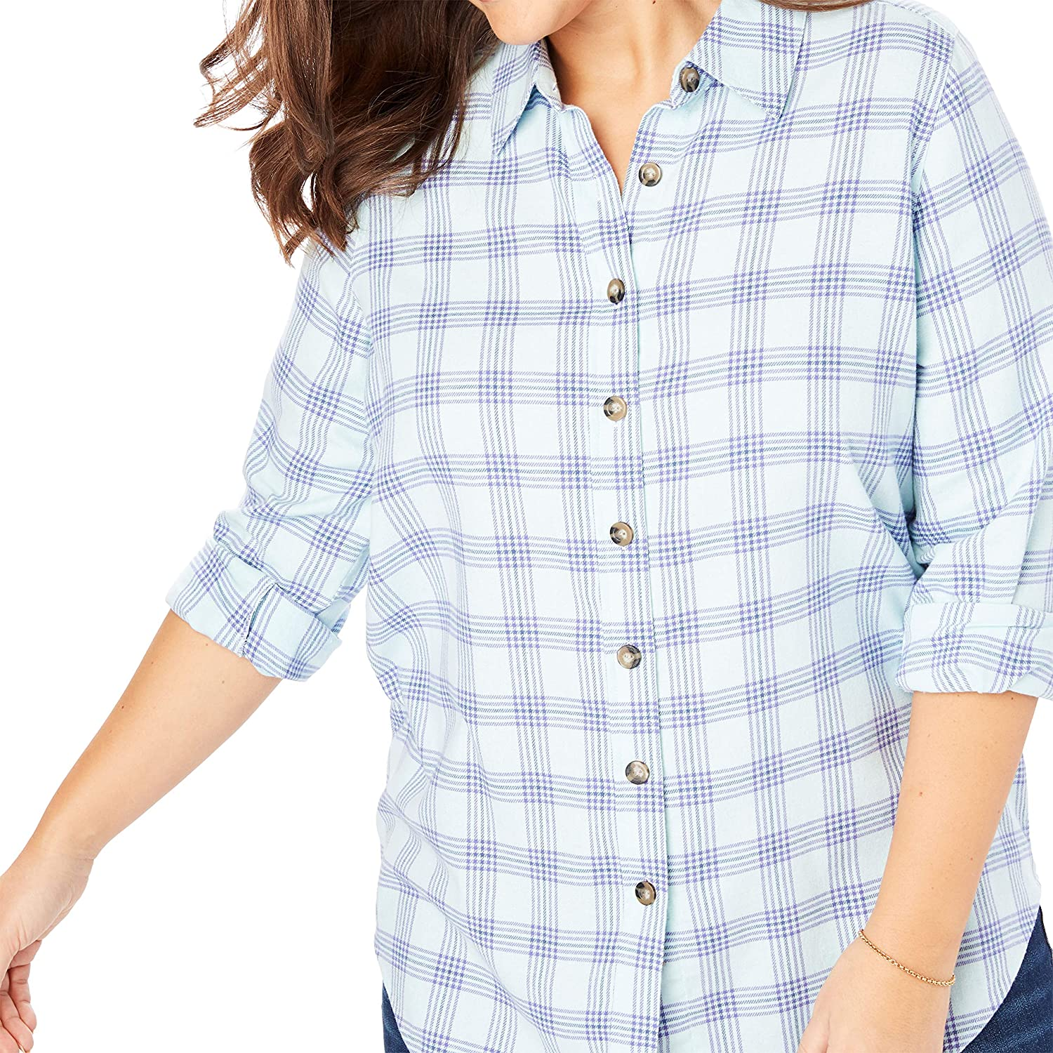 b71ef1bef3b9fb Woman Within Women s Plus Size Classic Flannel Shirt at Amazon Women s  Clothing store