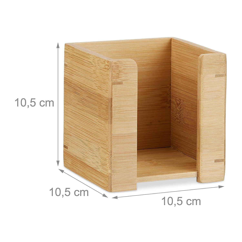 Notizzettel Halter Relaxdays Zettelbox Bambus natur H x B x T: 10,5 x 10,5 x 10,5 cm 900 Blatt Zettelkasten Holz