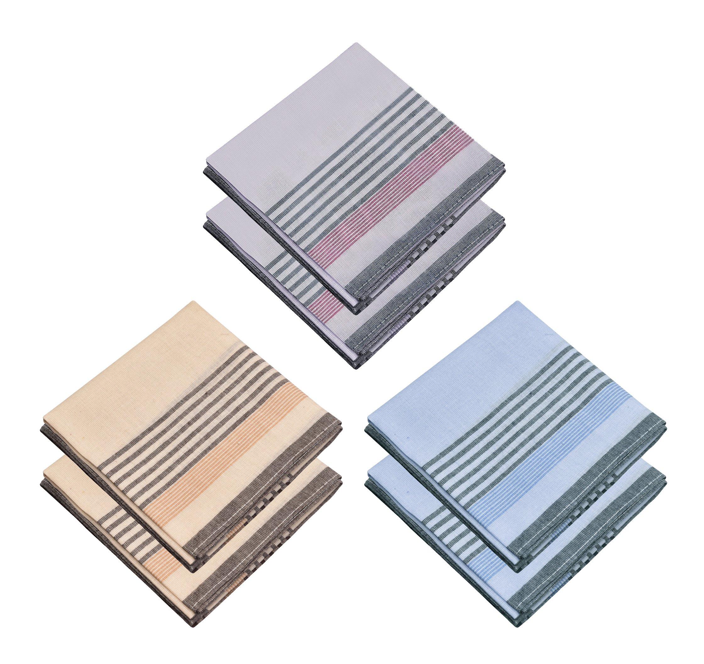 JFL - Bamboo Cotton Color Strips Handkerchiefs for Men & Boys - 6 Pieces