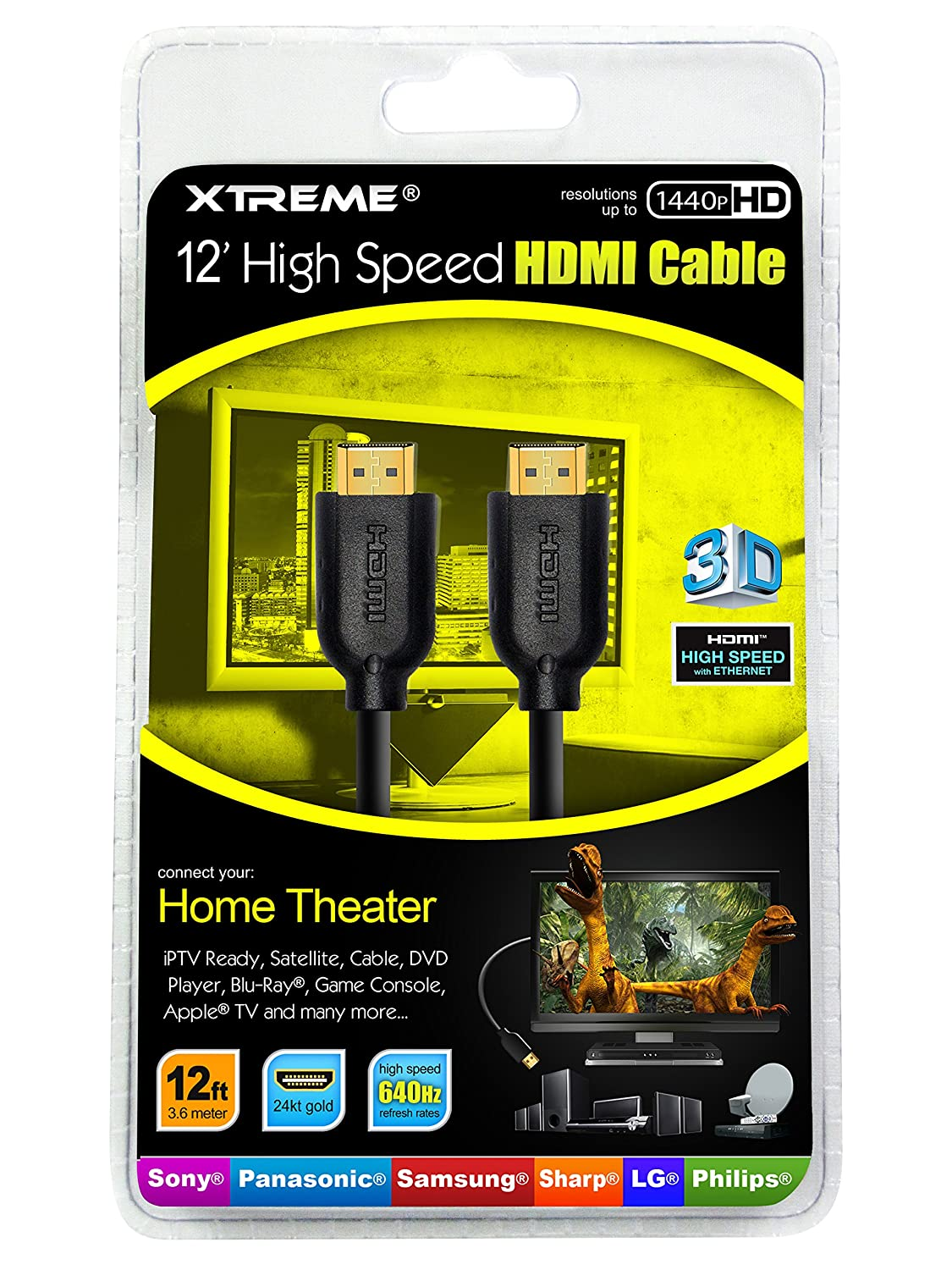 Xtreme 74112 12 Feethigh Speed Hdmi Cable Hi Fi Wiring My House For Tv Speakers