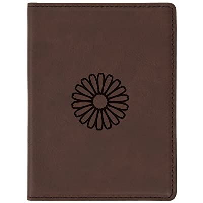 """Daisy Brown Leather Passport Holder - Laser Etched Design - 4 X 5.5"""" Engraved Passport Holder For Women And Men"""