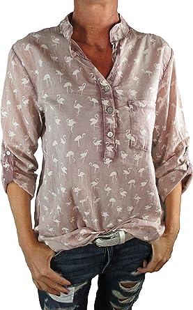 Tim Collins - Camisas - Blusa - Cuello Mao - para Mujer Rosa Claro Talla única: Amazon.es: Ropa y accesorios