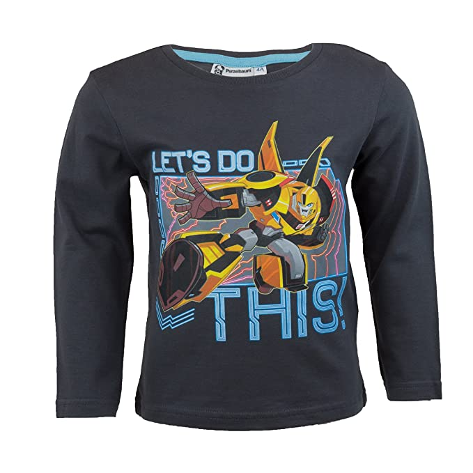 2019 original feinste Stoffe später Transformers Kinder Langarmshirt aus 100% Baumwolle, Langarm T-Shirt mit  Autobots Optimus Prime und Bumblebee für Jungen - 3 Motive, Gr. 98-128