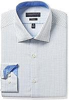 Perry Ellis Collection Men's Slim Fit Check Non-Iron Dress Shirt, Blue/Green Graph Check