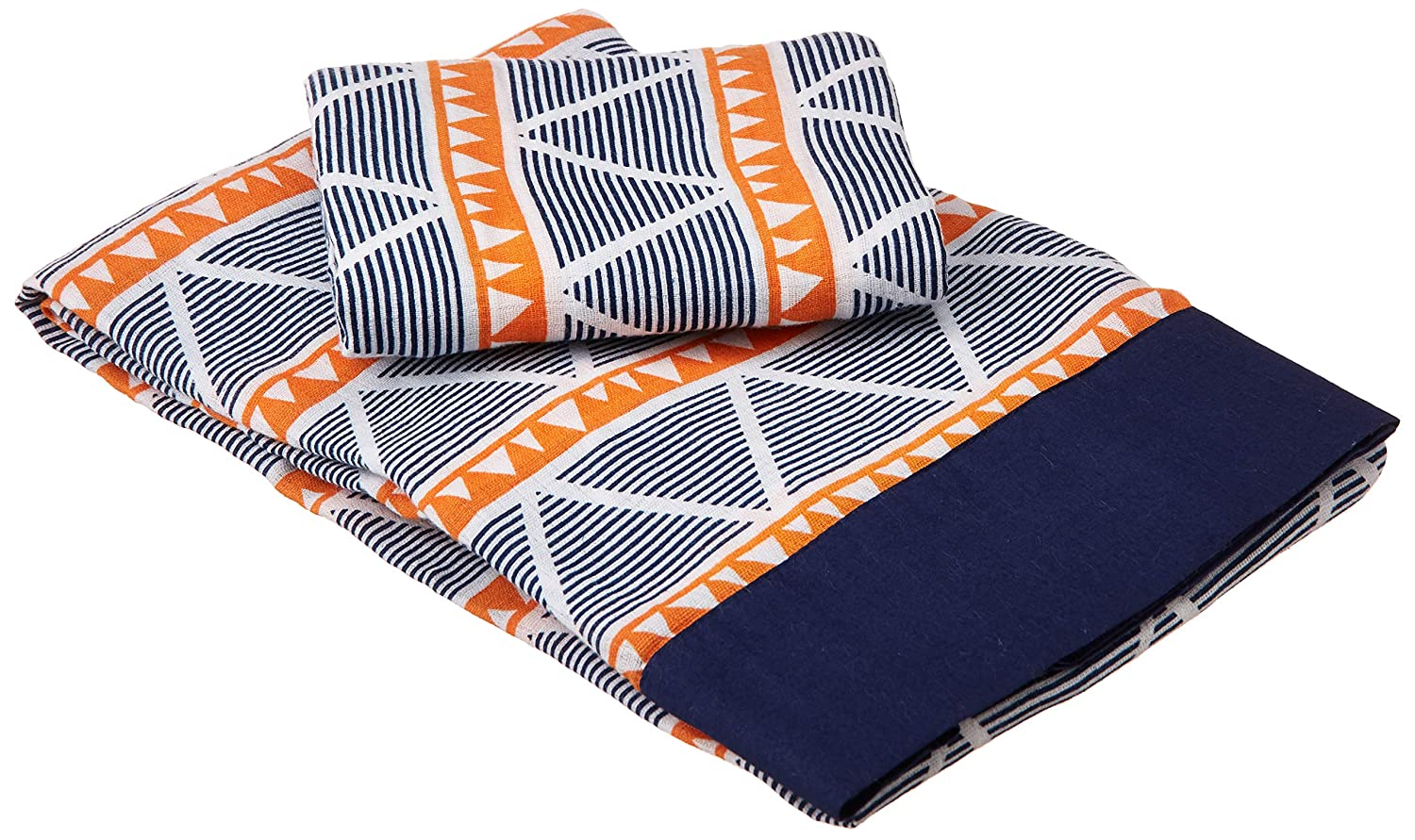 Bacati Aztec//Tribal Triangles 3 Piece Cotton Breathable Muslin Toddler Bedding Sheet Set Large Aqua//Navy