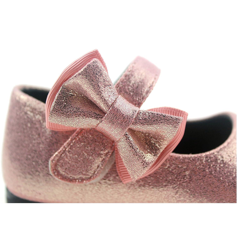 Bella Rosa Toddler Little Girls Glitter Mary Jane Side Flowers Ballet Flat Shoes New