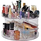 VERSATILE ROTATING SPINNING BEAUTY CLEAR ACRYLIC COSMETIC CADDY ORGANISER DRAWER / MAKE UP NAIL POLISH VARNISH DISPLAY STAND / ORGANISER / RACK / HOLDER CAN ALSO BE USED FOR MAKEUP BRUSH SETS, JEWELLERY AND ARTS AND CRAFT - CAN STORE UPTO 200 ITEMS