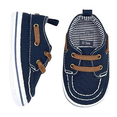 9e8740a9 Carter's Boys' Boat Shoe, Navy, 0-3 Months, Size 1 Regular