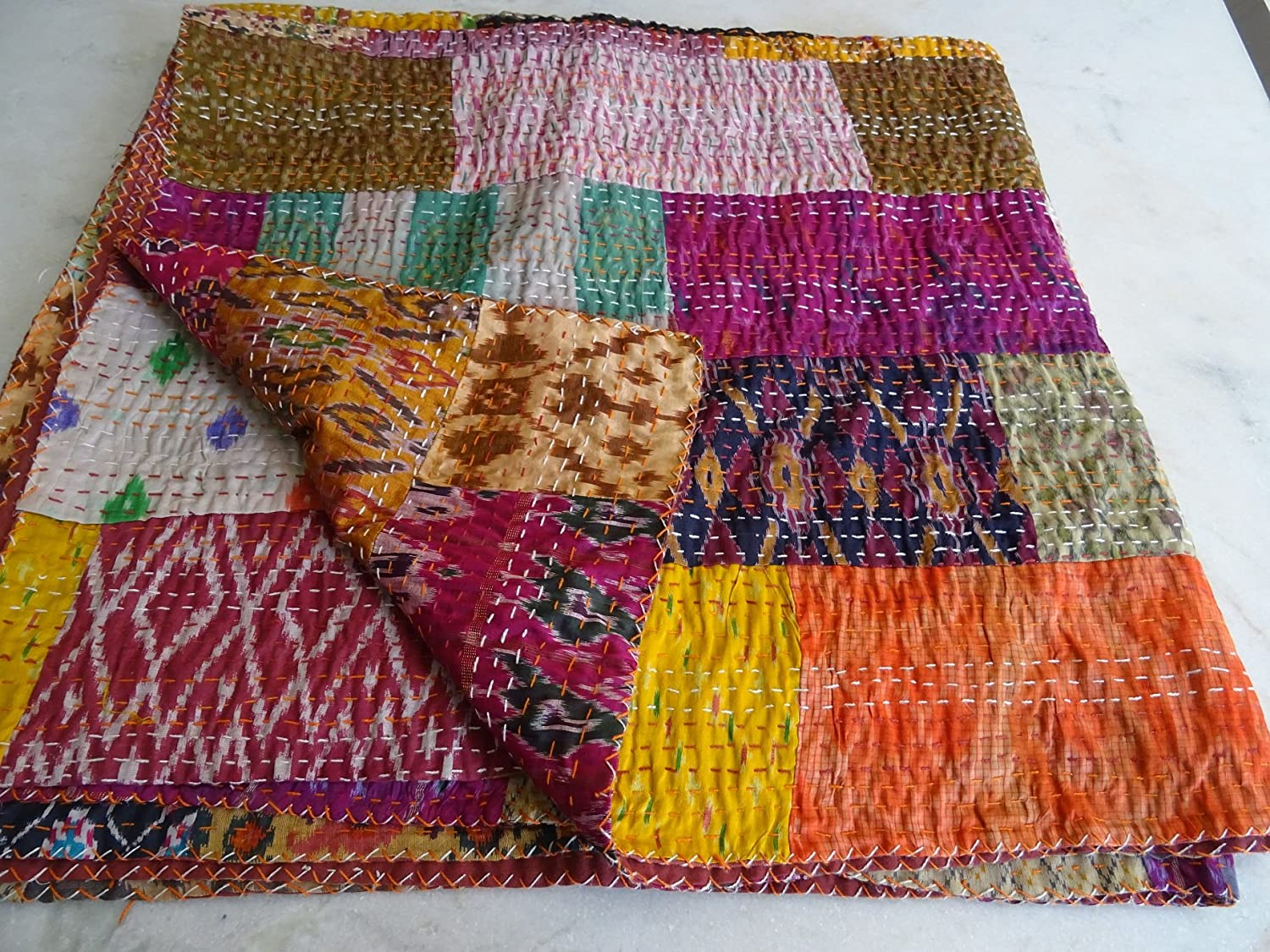 Indian Kantha Quilt, Patola Silk Patchwork Kantha Blanket, Kantha Bohemian Bedding, Reversible Bedsheet / Blanket Decorative Vintage Ethinic 009 Tribal Asian Textiles