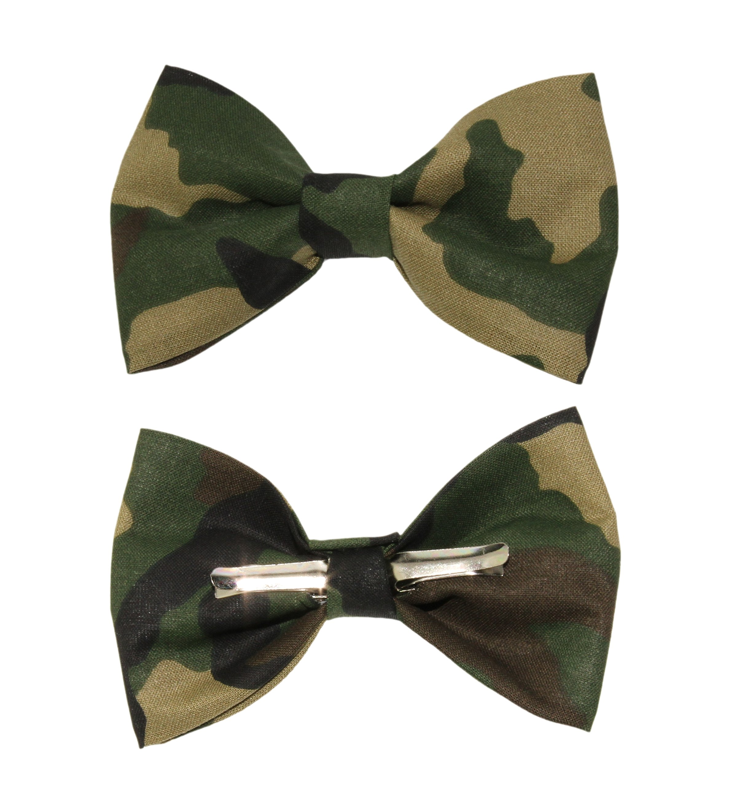 Boys Woodland Camouflage Clip On Cotton Bow Tie