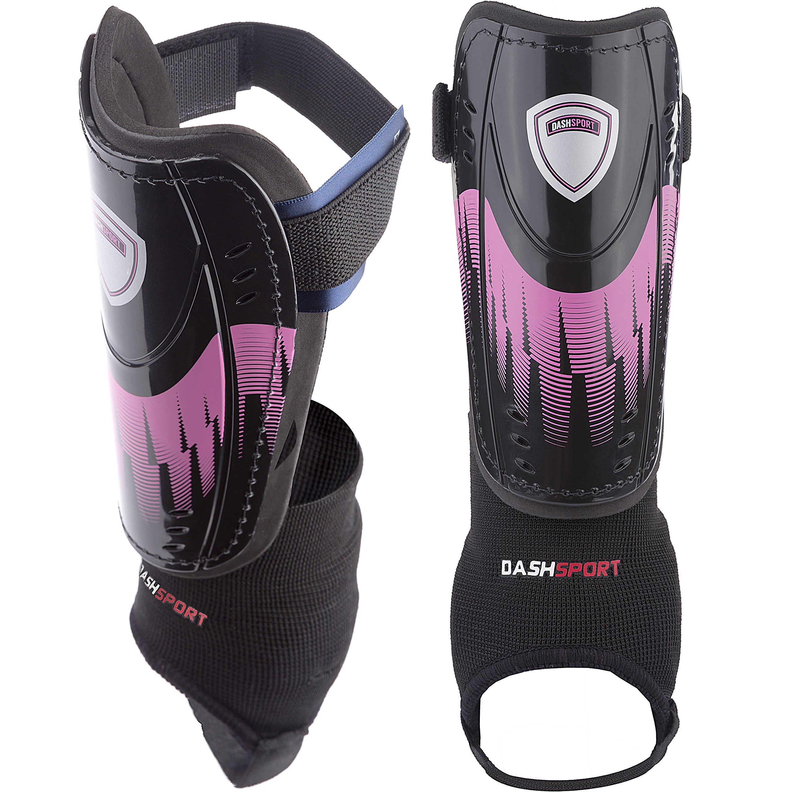 DashSport Soccer Shin Guards -Youth Sizes Best Kids Soccer Equipment with Ankle Sleeves - Great for Boys and Girls by DashSport