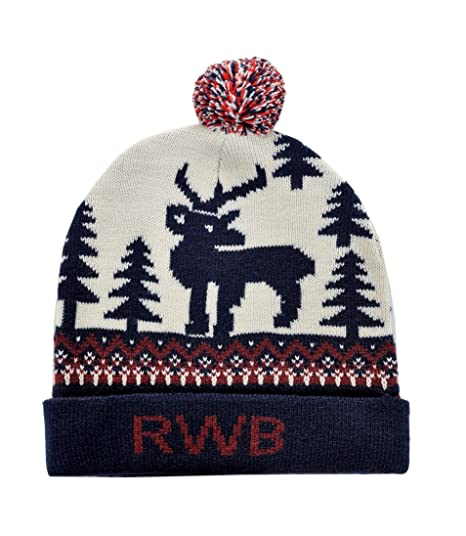 2b4c5bd7658e56 Image Unavailable. Image not available for. Color: RWB Reindeer Ugly  Christmas Beanie with Pom-pom One Size Hat Navy