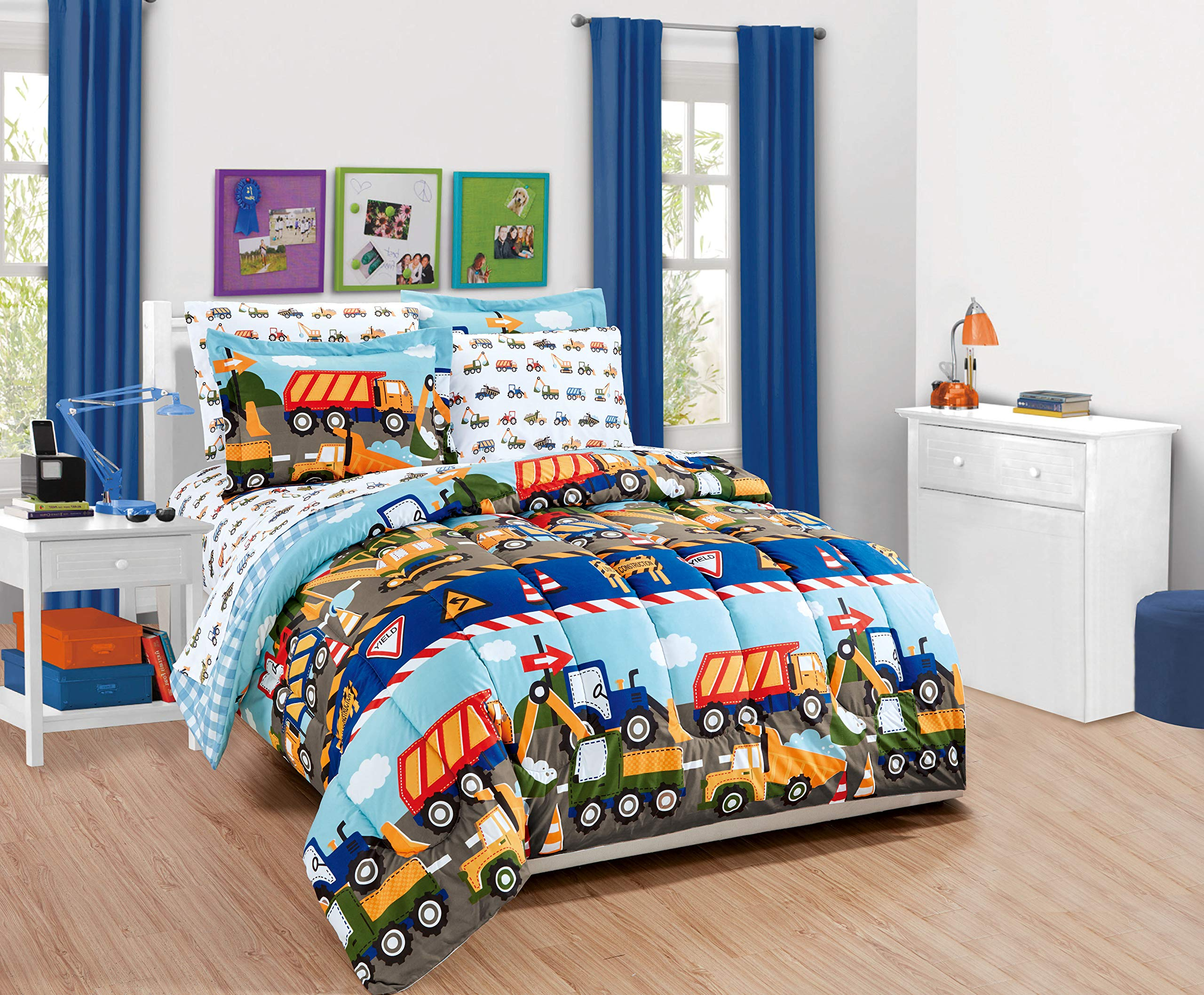 Linen Plus Twin Size 5pc Comforter Set for Kids Construction Tractors Blue Red Green Yellow Grey White New
