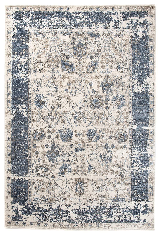 Carpeto Orientalisch Teppich Vintage 160 x 220 cm Creme Blau