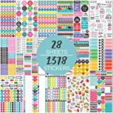 Planner Stickers Pack - 28 Sheets / 1378 Stickers, Stylish Variety Assortment Bundle Planner Accessories for Planning or Deco