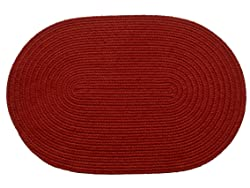 RRI Home Decor Solid polypropylene Oval Braided Rug, 2 by 3-feet, Brilliant Red