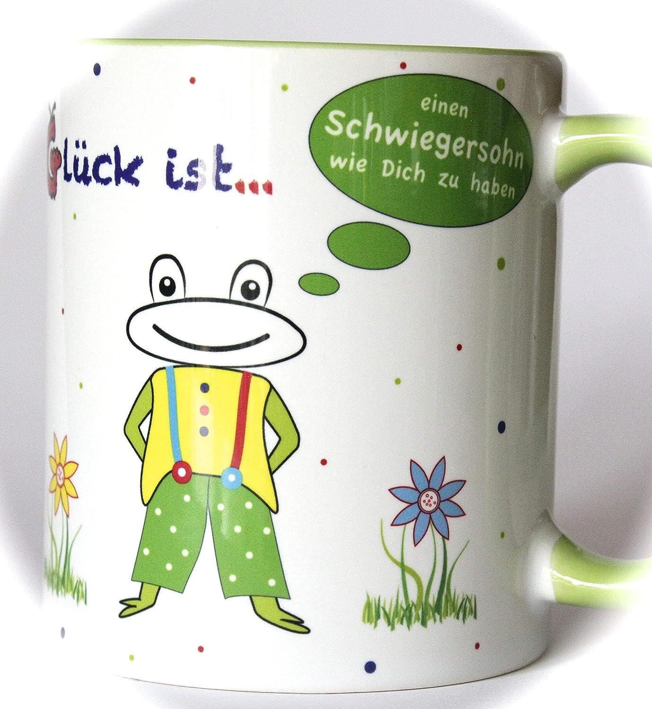 Geschenk für besten Schwiegersohn, Freundschaftstassen, Dankeschön Geschenk, Tasse mit Spruch, Glück ist einen Schwiegersohn wie Dich zu haben, Geschenkidee Schwiegersohn, Gute-Laune-Tasse, Tasse mit Motiv Dankeschön Geschenk