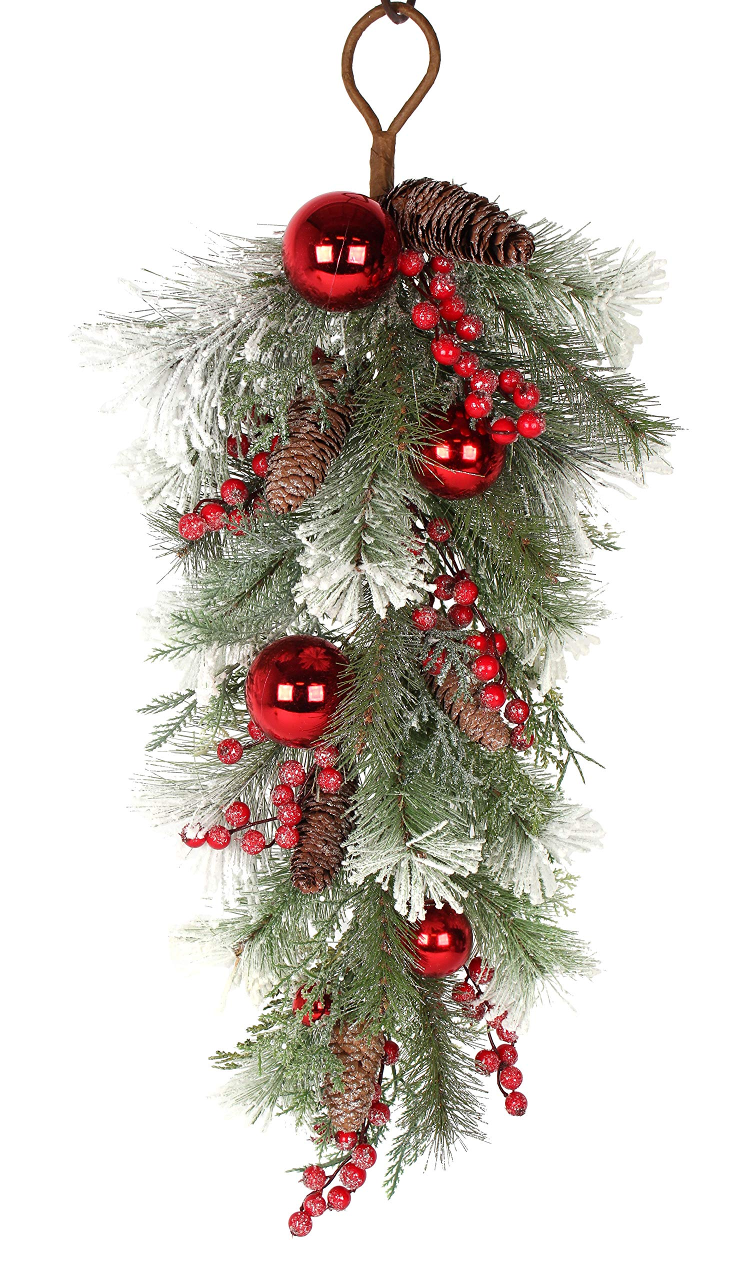 32 Inch Artificial Mixed Pine Christmas Teardrop Swag with Snow, Crystals, Berries, Pine Cones and Red Ball Ornaments by DE