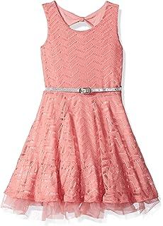 4867714b59 Amazon.com  Beautees Little Girls  Swirling Flowers Belted Skater ...