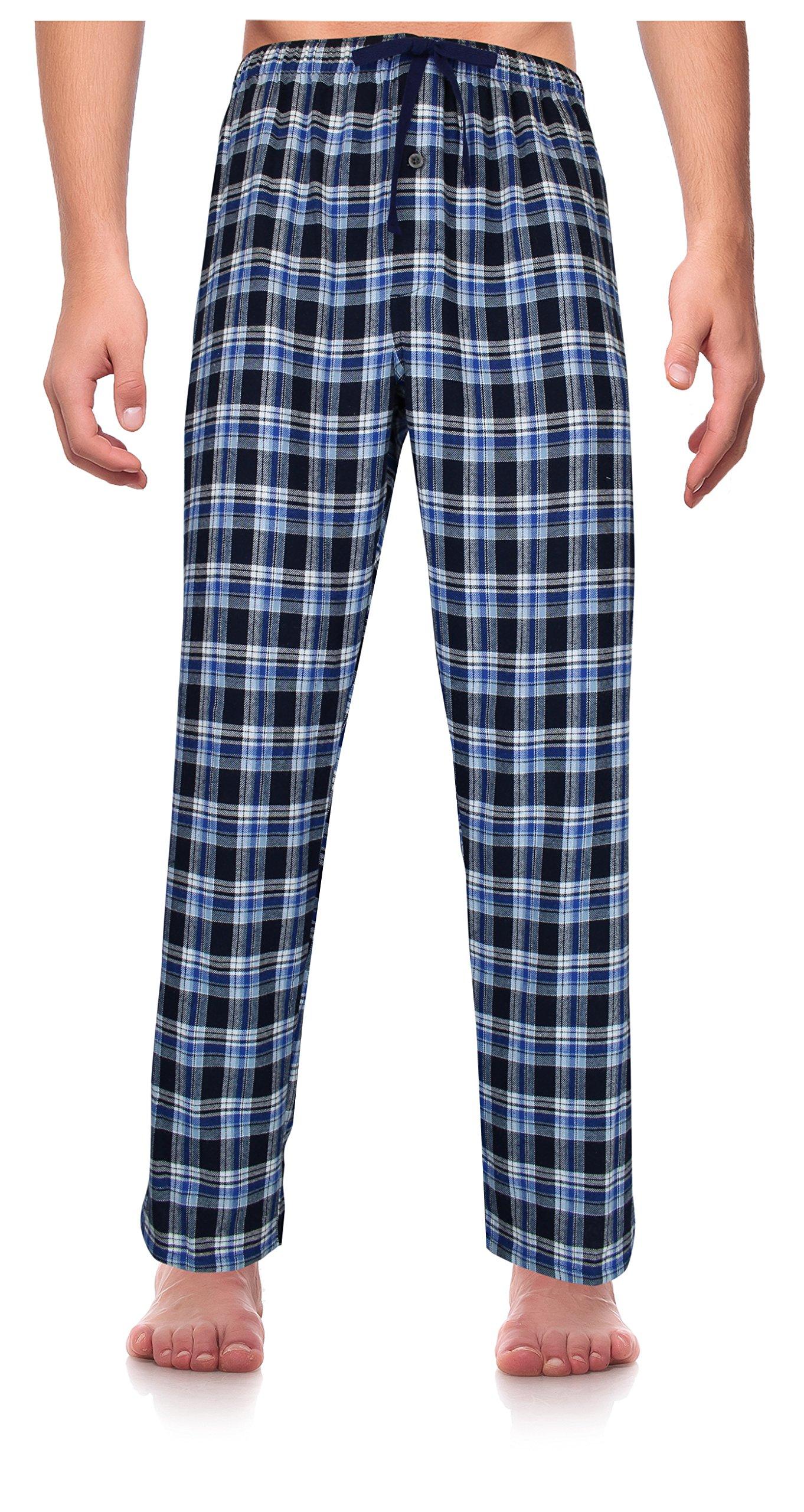 RK Classical Sleepwear Men's 100% Cotton Flannel Pajama Pants,Blue, Plaid (F0161),Medium