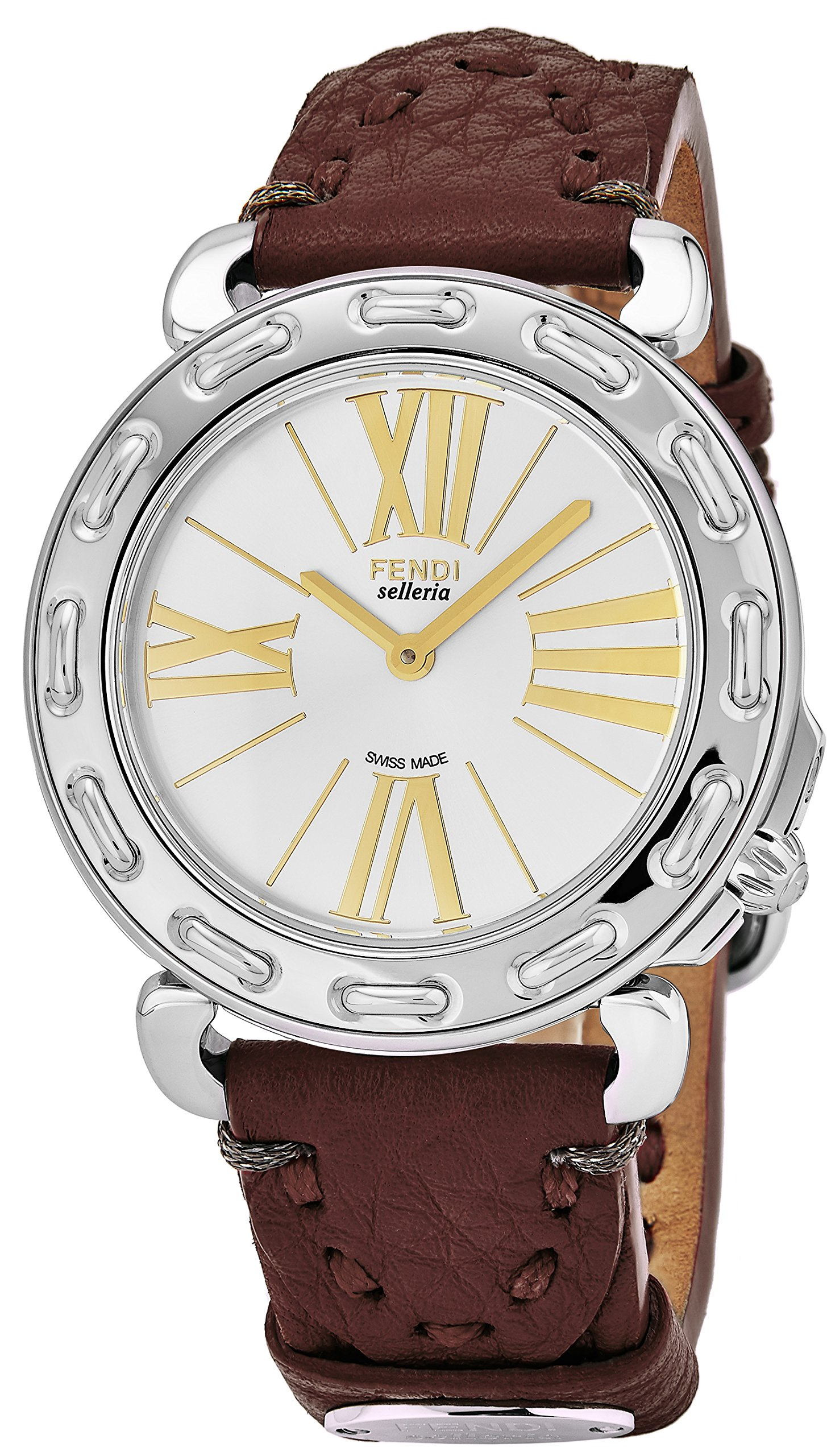 Fendi Selleria Womens Stainless Steel Swiss Fashion Watch with Selleria Horse Logo on Back - Silver Face Brown Leather Strap Dress Watch For Women with Interchangeable Band F81236H-SS18RL7S