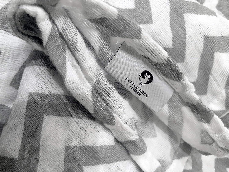 Little Grey London Couverture en mousseline de coton bio Motif chevron 120 x 120 cm