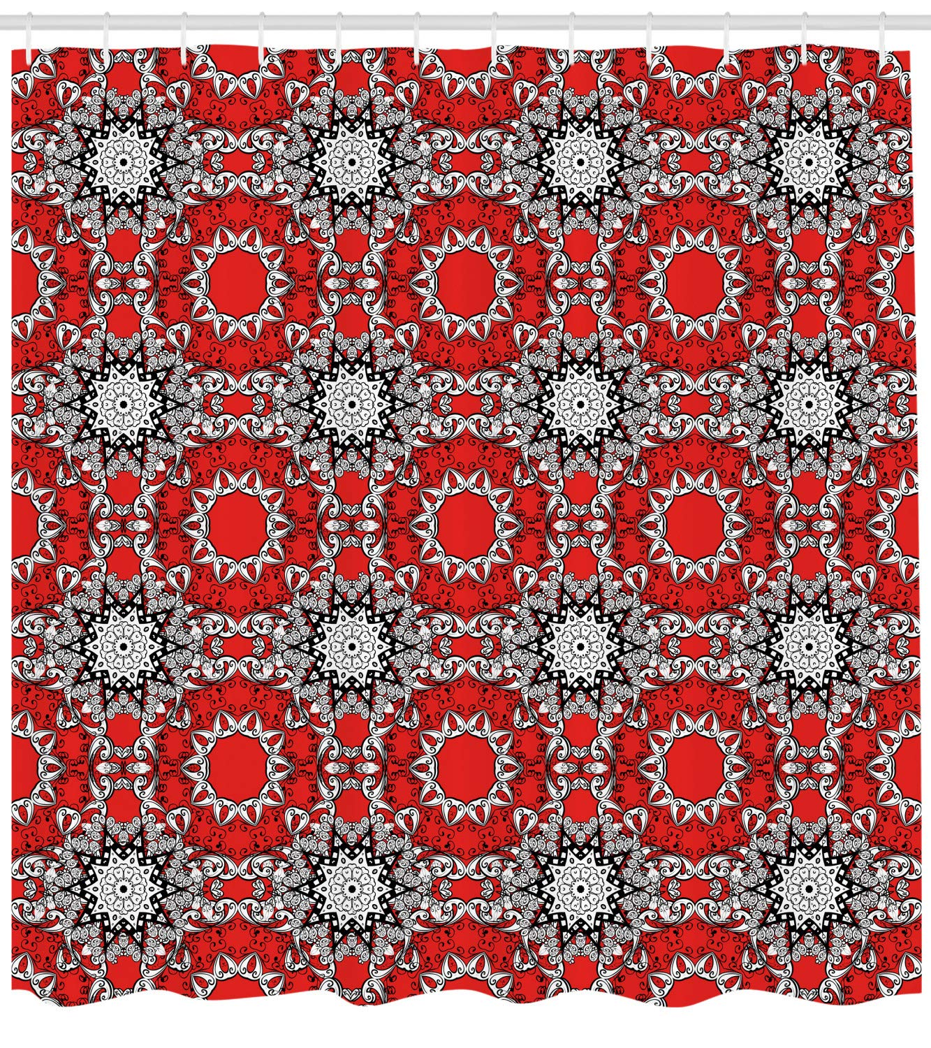 Red Mandala Shower Curtain Vibrant Doodle Art Print for Bathroom 70 Inches Long