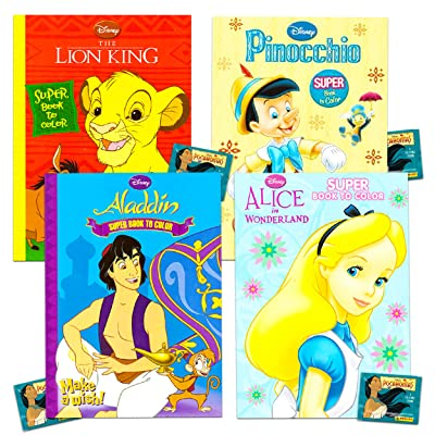 Disney Coloring Books for Kids -- Bundle Includes 4 Disney Coloring Books with Stickers Featuring Pinocchio, Aladdin, Lion King, Alice in Wonderland: Toys & Games