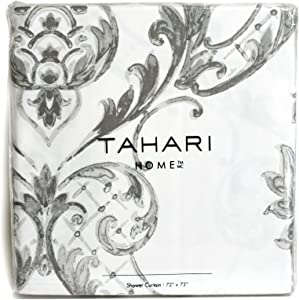 Tahari Home Fabric Shower Curtain Chinoisserie Damask Paisley Scroll Medallion Grey on White 72 x 72""
