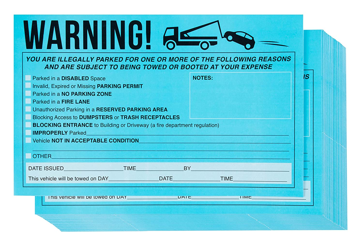 Parking violation stickers 50 pack towing stickers vehicle parking warning stickers no parking sign car window sign fluorescent blue stickers