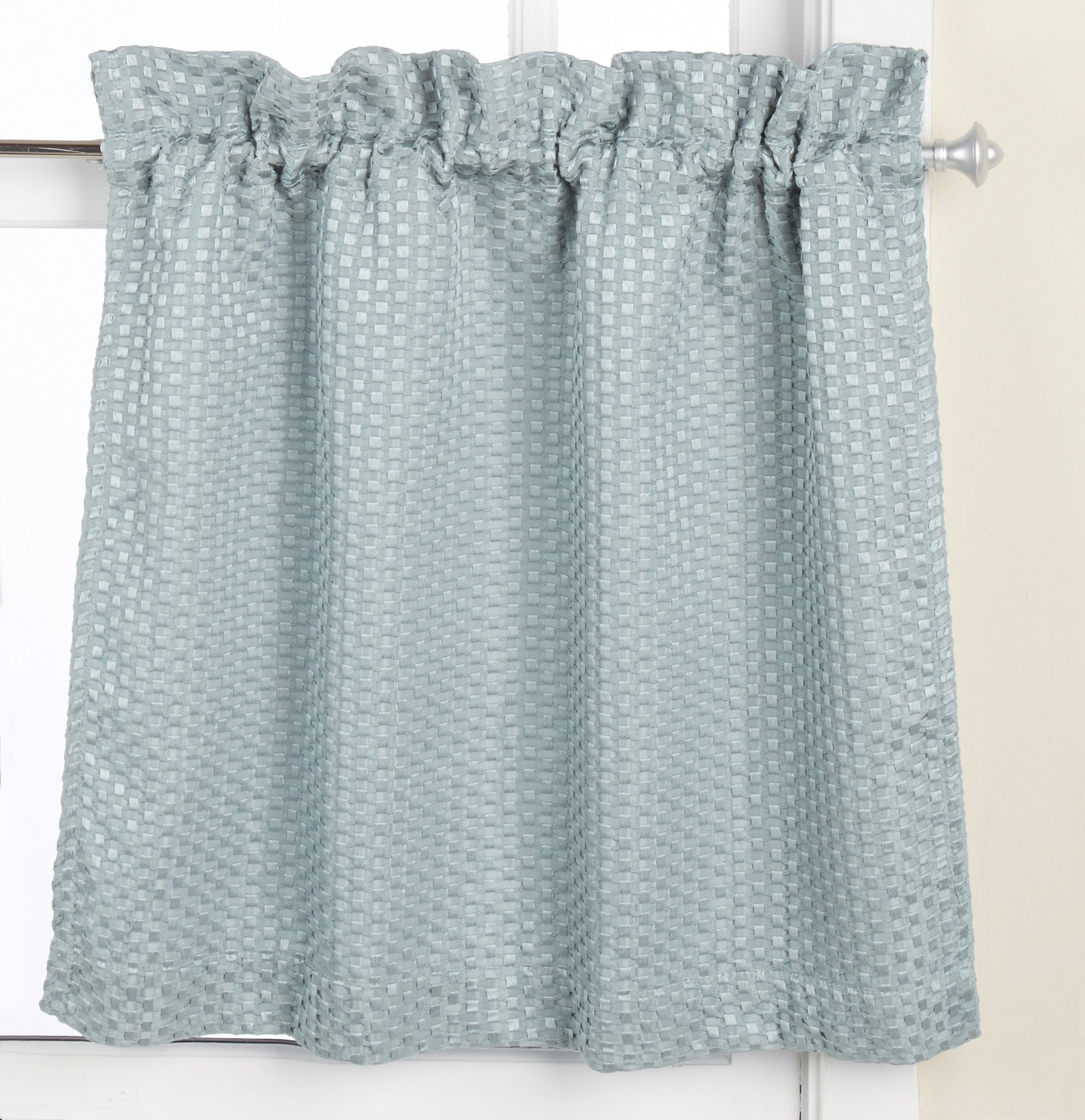 United Curtain Hamden Woven Waffle Kitchen Tiers 55 by 36-Inch Blue ...