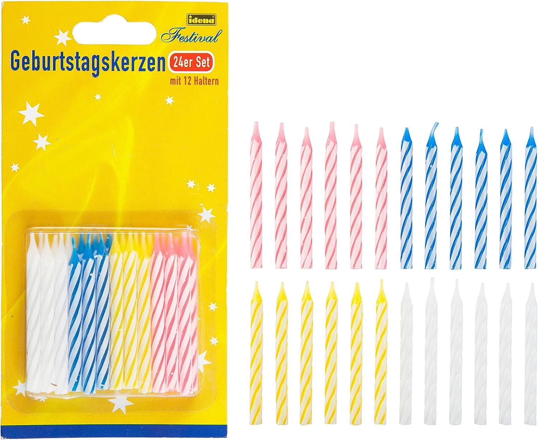 lot de 24 multicolore cire Idena 408199/Bougies danniversaire 16,8/x 8,8/x 1,2/cm