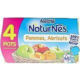 Nestlé Bébé Naturnes Pommes Abricots - Compote dès 4 - 6 Mois - 4 x 130g - Lot de 3