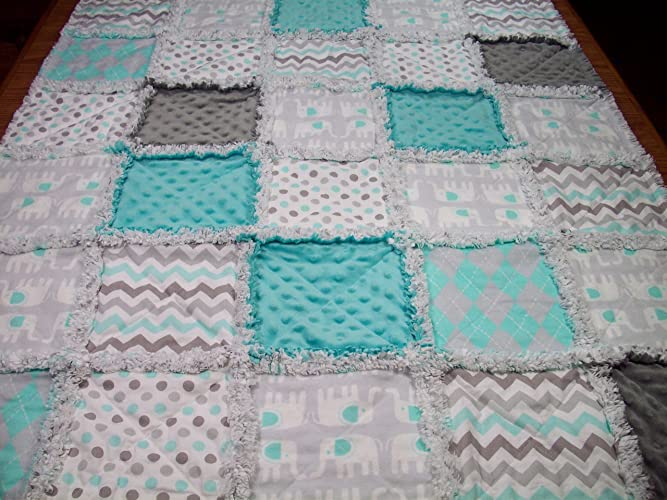 9dfeb9e55eb89 Amazon.com: Aqua and Grey Elephant Rag Quilt Handmade Baby Girl or ...