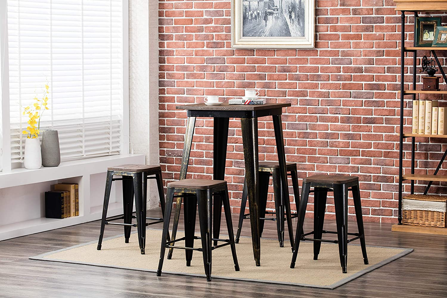 Porthos Home Counter Height (24 inch) Metal Cafe Wood Seat for Restaurant or Home, Tolix Style, Set of 4 Stools, No Assembly Required Bar Chair, One Size, Vintage Copper