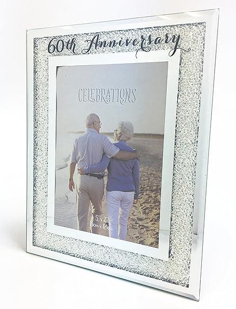 60th Wedding Anniversary Photo Frame Diamond Mirror Glass Crystal ...