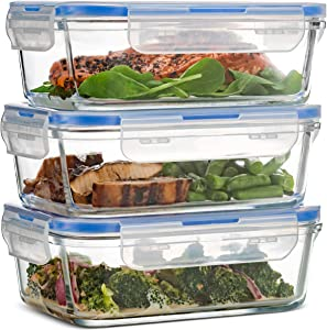 Superior Glass Meal Prep Containers - 3-pack (28oz) BPA-free Airtight Food Storage Containers with 100% Leak Proof Locking Lids, Freezer to Oven Safe Great on-the-go Portion Control Lunch Containers