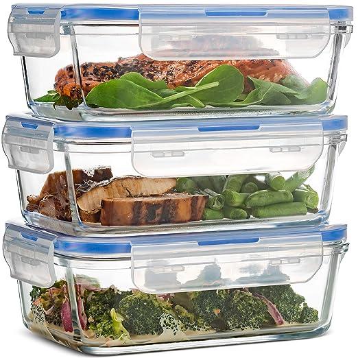 finedine superior cristal de borosilicato comida Prep recipientes de almacenamiento de alimentos (3 unidades, 28 ml) libre de BPA tapa tapa de cierre ...