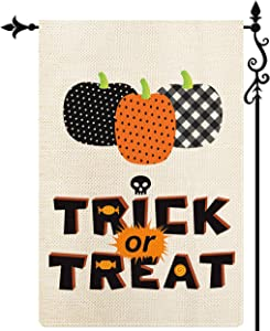 Coskaka Halloween Trick Or Treat Garden Flag Vertical Double Sided,Black White Pumpkin Skull Buffalo Check Plaid Rustic Farmland Burlap Yard Lawn Outdoor Decor 12.5x18 Inch