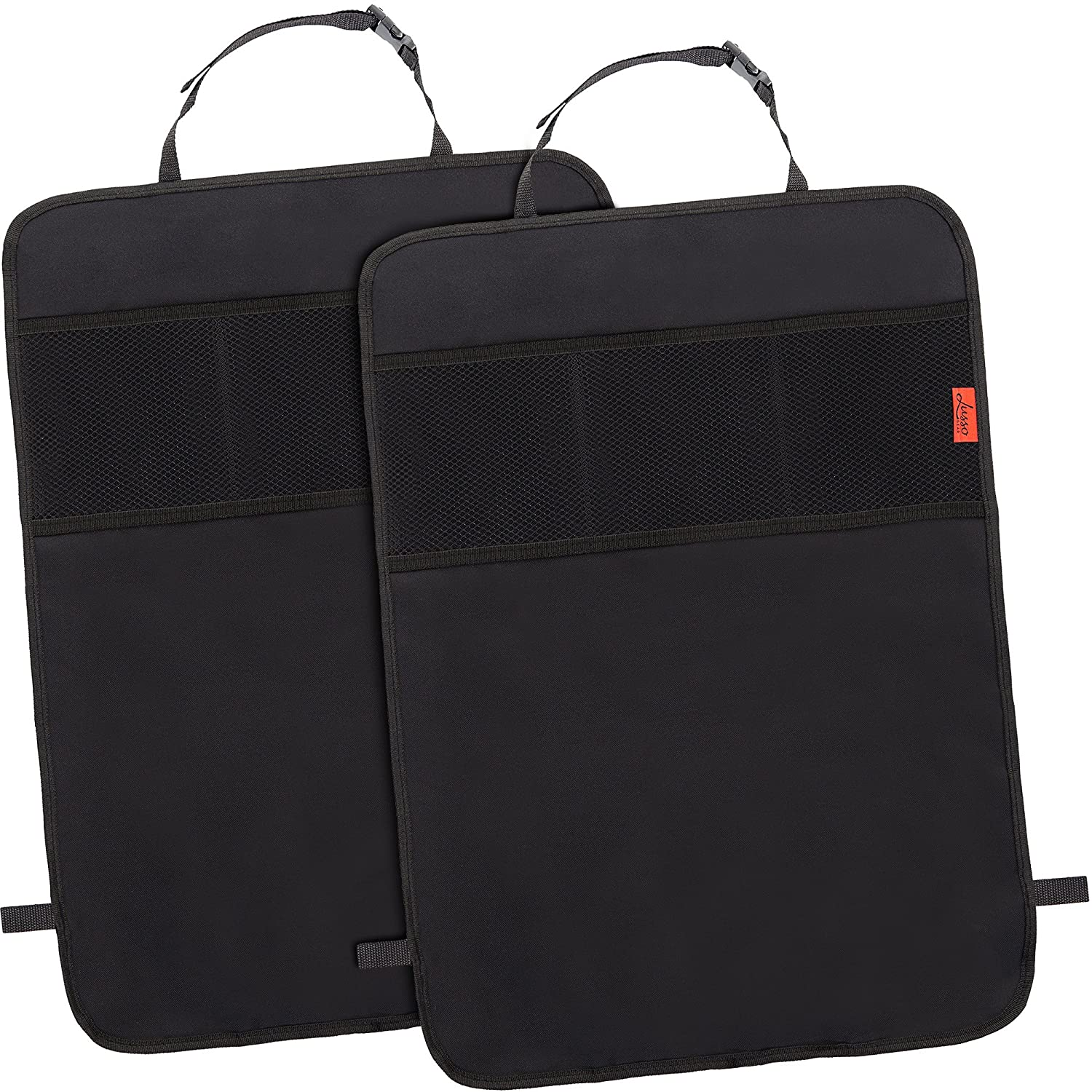 Seat Back Protectors (2 pack) - Car Kick Mats with Odor Free, Premium Waterproof Fabric, Reinforced Corners to Prevent Sag, and 3 Mesh Pockets for Great Storage Lusso Gear