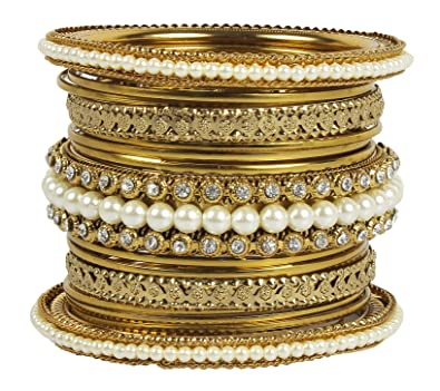MuchMore Ethnic Traditional Indian Bollywood Style Antique Gold Plated Polki Bangle Jewellery 3ERzSASdr