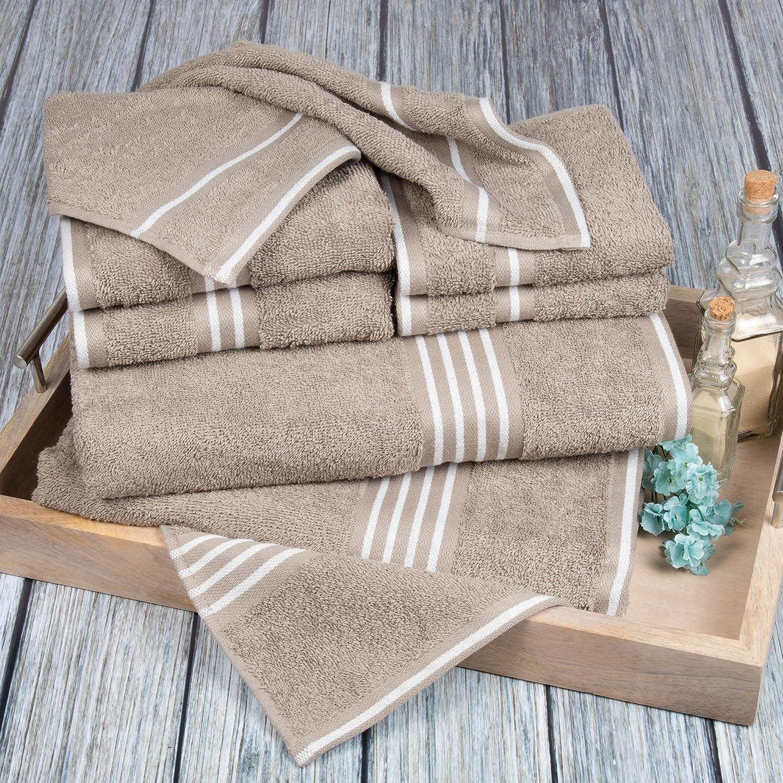 Bedford Home Rio 8-Piece Egyptian Cotton Towel Set, Burgundy 67A-53628