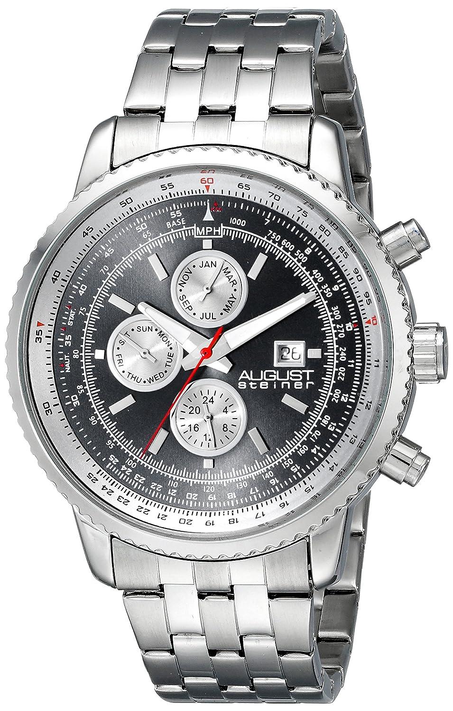 Reloj de pulsera analógico August Steiner - para hombre, esfera de cuarzo suizo y correa de acero inoxidable